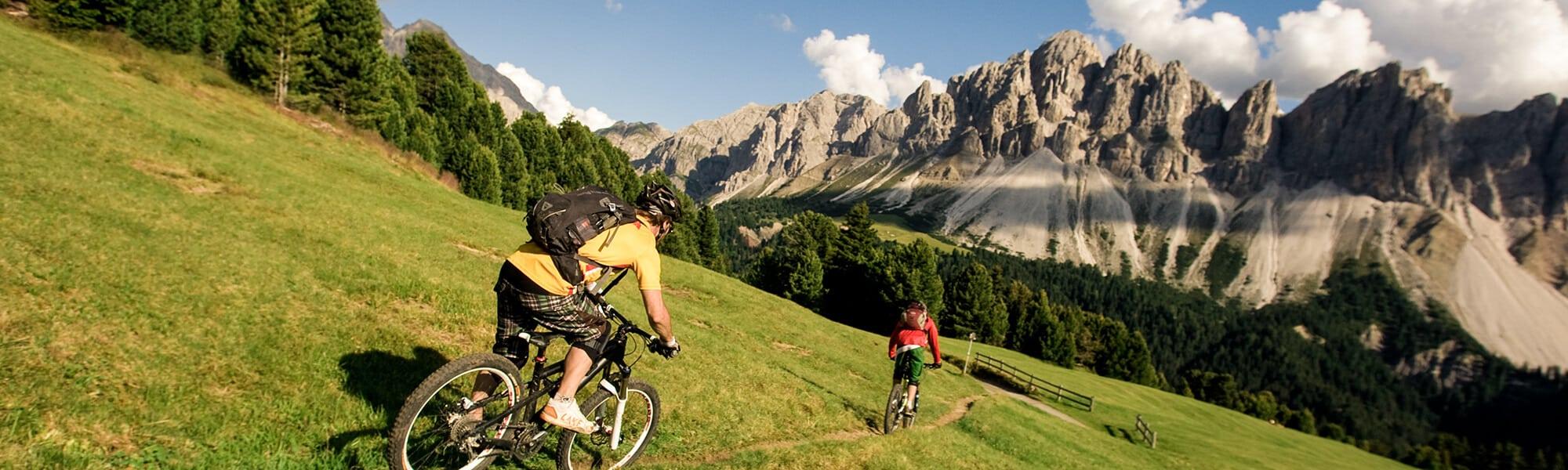Mountainbike mit schönem Panorama / die Geisler